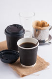 Take away coffee cup. Take away paper coffee cup with metal coffee filter Royalty Free Stock Photography