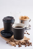 Take away coffee cup. Take away paper coffee cup with metal coffee filter Royalty Free Stock Photos