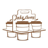 Take away coffee cups. With carry tray  on white background. Vector illustration Stock Photography