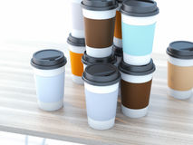Take away coffee cups Royalty Free Stock Images