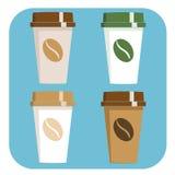 Take away Coffee sign icon. Take a Coffee sign flat icon set Stock Images