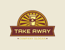 Take away concept. Vector coffee logo. Royalty Free Stock Images