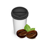 Take away cup of coffee with coffee beans Stock Images