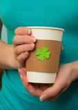 Take away cup with shamrock Stock Photography