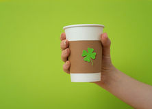 Take away cup with shamrock Royalty Free Stock Photos