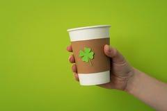 Take away cup with shamrock Stock Photos