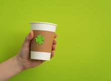Take away cup with shamrock Stock Images