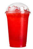 Take-away drink. Refreshing drink in a plastic cup. Red berry juice. stock photography