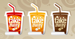 Take away drinks stickers. Royalty Free Stock Image