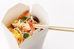 Take away Egg noodles. With shiitake mushrooms, shrimp and pork Royalty Free Stock Photography