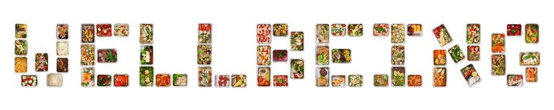Wellbeing written with foil boxes with fitness nutrition. Take away foil boxes with everyday meals arranged in Wellbeing word. Set of containers with daily diet royalty free stock photo