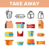 Take Away Food Vector Thin Line Icons Set stock illustration