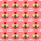Take away hot coffee cups seamless pattern Stock Image
