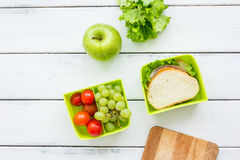 Take away with lunchbox and fresh food on white background top view Stock Photo