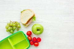 Take away with lunchbox and fresh food on white background top view space for text Royalty Free Stock Photo