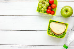 Take away with lunchbox and fresh food on white background top view space for text Royalty Free Stock Image