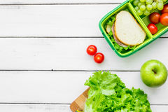 Take away with lunchbox and fresh food on white background top view space for text Stock Photos