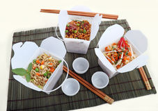 Take Away Noodles. BBQ egg noodles, vegetables noodles and chili rice noodle vermiceli in take away containers Stock Image