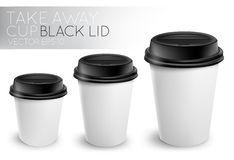 Take away paper cup black cap Royalty Free Stock Image