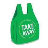 Take away plastic bag. Recycle concept stock illustration