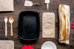 Take away set with paper bags restourant table background top view mock-up Stock Photo
