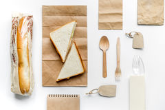 Take away set with paper bags restourant table background top view mockup Stock Photo