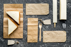 Take away set with paper bags in restourant top view space for text Royalty Free Stock Photo