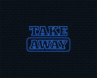 Take away sign icon. Takeaway food or drink. Neon light. Take away sign icon. Takeaway food or coffee drink symbol. Glowing graphic design. Brick wall. Vector royalty free illustration