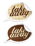 Take away stickers. Take away stickers in form of speech bubbles stock illustration