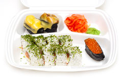 Take away sushi tray. Against white background Royalty Free Stock Photography