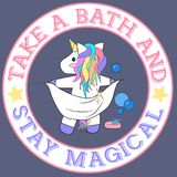 Take a bath and stay magical baby unicorn taking a bath with bubbles and soap royalty free illustration