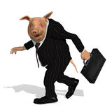 Take the Bonus and Run. A pig dressed as a greedy corporate executive takes his bonus and walks away - 3D render vector illustration