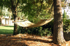Take a break!. A hammock hangs in the shade of two trees Stock Photo