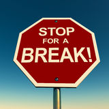 Take break. Stop for a break text on a red stop sign, against a clear blue sky, concept of vacation, holiday and relaxing break in middle of busy work schedule vector illustration