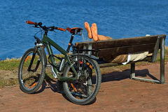 Take a break while biking Royalty Free Stock Image