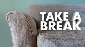 Take a Break Couch Leisure Relax Stop Working. 3d Illustration Stock Image