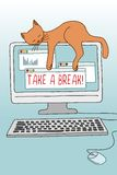 Take a break! illustration with cute cat Royalty Free Stock Photography