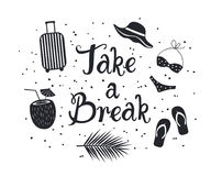Take a break inspirational hand written lettering quote poster card for those who is tired at work and need urgent vacation. Palm leaf, flip flop, bikini Stock Photo