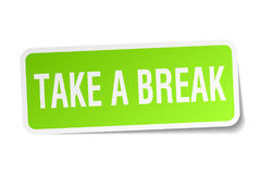 Take a break sticker. Take a break square sticker isolated on white background royalty free illustration