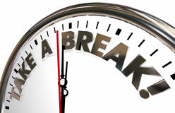 Take a Break Time Out Pause Stop Clock Words Royalty Free Stock Photo