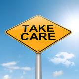 Take care concept. Illustration depicting a roadsign with a take care concept. Sky background Royalty Free Stock Photography