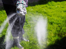 Take care of the lawn. Woman take care of the lawn and fertilize Stock Image