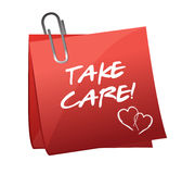 Take care message on a post it Royalty Free Stock Images