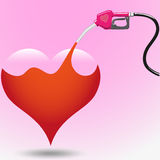 Take care your love. Fill love with fuel dispenser isolate on pink background Royalty Free Stock Photo