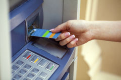 Take cash from the ATM Stock Photos