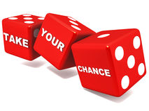 Take chance. Take your chances words on red dice rolling on white background, personal risk taking concept Royalty Free Stock Photography