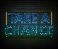 Take a chance concept. 3d Illustration depicting an illuminated neon sign with a take a chance concept royalty free illustration
