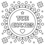 Take chances. Coloring page. Vector illustration. Take chances. Coloring page. Black and white vector illustration Royalty Free Stock Image