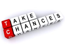 Take chances text. Phrase 'take chances' in lettering on dice shaped blocks of red and white, isolated on a white background stock illustration