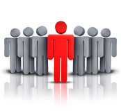 Take Charge. And social business financial symbol with one leading red human character managing advising and leading a team of followers to a path of success Stock Photos